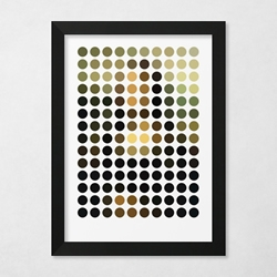 Leonardo da Vinci's 'The Mona Lisa' reduced & remixed down into 140 exact circles of color.