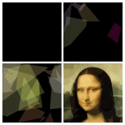 Genetic Programming: Evolution of Mona Lisa - Roger Alsing created a small program that keeps a string of DNA for polygon rendering. Very cool.