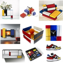 It's Mondrian Madness! Everything from Nike's SB low dunks to a wall mounted fireplace, Naef blocks to Christian Louboutin's wedges. These items are all based on dutch painter Piet Mondrian's compositions in red, yellow and blue.