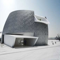 Unique modern villa in Mongolia, China designed by *multiplicities. The villa is made of black brick while the building is made of white quartz white plaster.