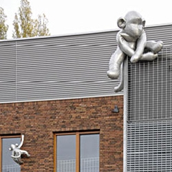 What happens when aluminum monkeys take over your school? Loving Marjolijn Mandersloot's works after seeing #3133. [Editor's Note: also seen as #2353]