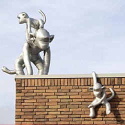 Marjolijn Marndersloot's aluminium monkeys have invaded a school in the Netherlands
