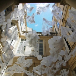'Ukigumo - floating clouds' is an installation by Fumiaki Nagashima and Mami Maruoka Nagashima of Mono for the 5th Festival of Lively Architecture, Montpellier, France.
