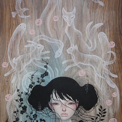 "Audrey Kawasaki ""Mononoke"" - this is one piece of a bunch of stunning ones in Thinkspace's group show 'LAX/HKG' show in Hong Kong!"