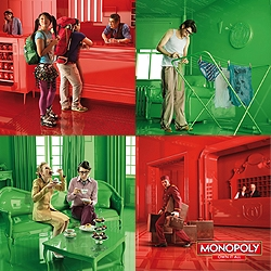 a colourful print advertising campaign for the Monopolopy board game...