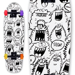 Stacks Monster Cruiser - Complete cruiser board with Kevin Lyons art, 4 different colored wheels and die cut grip tape with Stacks logo.