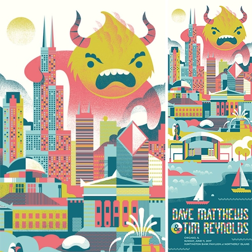 Delicious Design League's gig poster for Dave Matthews & Tim Reynolds has the best monster and colors!