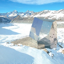 The Studio Monte Rosa alpine retreat calls to mind classic James Bond architecture, complete with a futuristic design, advanced building technology, and killer views of the Matterhorn.