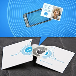 """Moo's NFC cards have a built in microchip - """"When it's touched to a smartphone, the chip asks the phone to do something. Something you've told it to... download your portfolio, play music or video, load web pages, maps or apps - the possibilities are endless. """""""