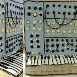 A collection of synth cakes to celebrate Easter in nerdy music style