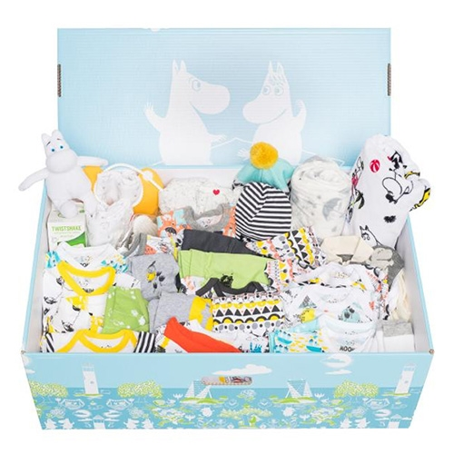 Finnish Baby Box (for those of us who can't get the govt subsidized finnish maternity boxes) has a cute Moomin Edition box filled with 33 essential baby products including a moomin graphic bed box with mattress.