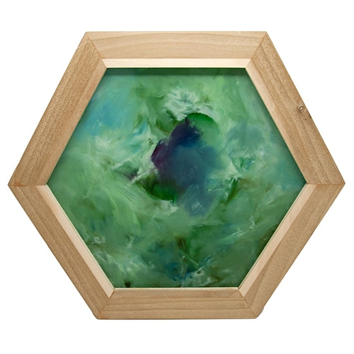 Mary Mooney paints mesmerizing abstracts on glossy acrylic hexagons, jewelry, and more. There's a beautiful layered depth and movement frozen in time to them.