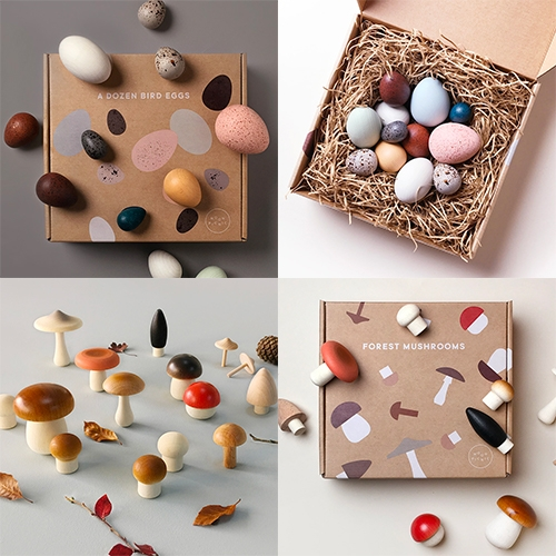Moon Picnic's A Dozen Bird Eggs in a box and Forest Mushrooms in a box are adorably packaged and so lovely in their minimalist painted solid beech wood... also cute in basket form! Created in a collaboration between Moon Picnic & Erzi, made in Germany.