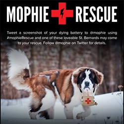 Mophie Rescue St. Bernards will be wandering SXSW  this year to help charge up your phone/devices/etc! Cute idea... also epic - check out the St. Bernard Rescue Foundation's website - from the 90s?