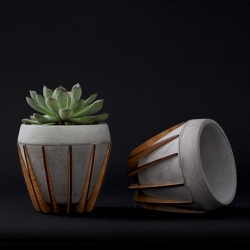 """La Morena"" is a small pot that combines two materials rarely seen together, wood and cement. The combination of both results in an honest and balanced artifact where concrete's stony aesthetics are countered and warmed by wood's organic looks."