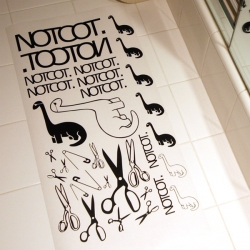 NOTCOT Stickers!  Limited Edition Series 1 ~ full sheet of 33 matte black vinyl stickers hand printed + weeded + sent out by me!