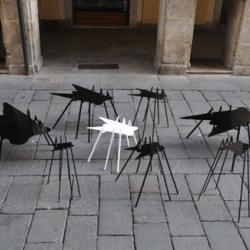 """Alarming set of tables """"la mosca bianca"""", by Sergio Ragalzi, at Marco Cappello Vintage & Design Gallery."""