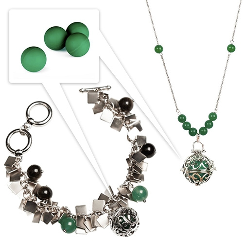 By Invite Only Yu Ahn Collection of jewelry incorporates jade inspired citronella balls to fight off mosquitos. They can be replaced, and last about a week.