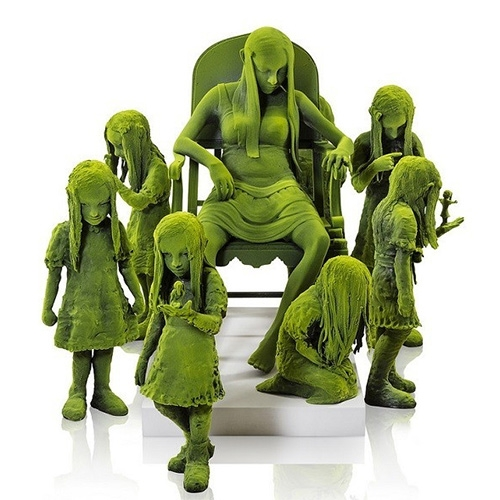 "The ""Moss People"" features cute/creepy ceramic children sculptures that reference Nordic fairytales. Each sculpture is made in ceramic with nylon fiber finish."