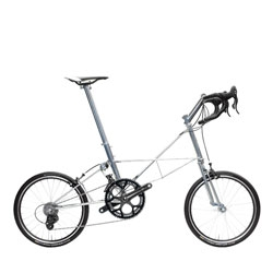 The British brand Moulton's dual suspended compact bicycle with a crazy support system and small wheels that delivers speed.