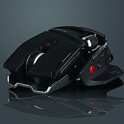 Cyborg R.A.T. gaming mouse created by Mad Catz is uniformally designed but realistically outrageous in general with all those buttons and knobs all around its body.