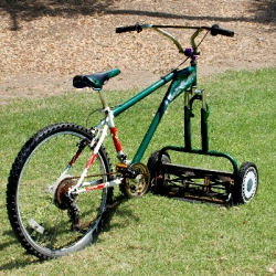 This is a cool push mower/bicycle hybrid.