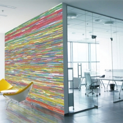 Listed by color depending on the major themes in international news, headlines of the New York Times from 1990 to 2005 were cut, then shortlisted by the artist AJ Bocchino, in order to form rolls of wallpaper. What a creative idea!