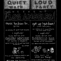 "Kid Koala and Nerdcore present: ""Music to Draw to.......Los Angeles"" 5 hour set of quiet time tunes to work to... Bring your sketchbook, yarn or that lump of clay and come on down and get some work done."