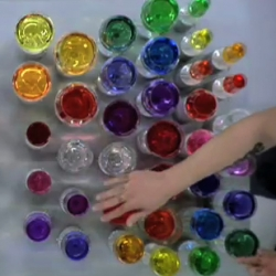 "For MTV Europe, We Love Our Work (Lerner Engelberts and Sander Plug) created ""CDEFGABC"", a vid where they play the 90s techno hit ""No Limits"" on a duo glass harp filled with multi-colour dyes."