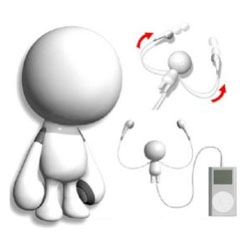 headphones - in the form of a little guy with retractable functional limbs...