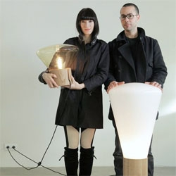 Solid oak and hand blown glass Muffins lamps by Paris-based designers Lucie Koldová and Dan Yeffet.