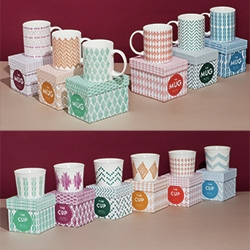 Benetton Home Collection of patterned mugs, cups, coffee cups, and bowls are a product of the Fabrica Design Studio - specifically Marlene Wolfmair from Austria, Federico Floriani from Italy and Vidit Narang from India.