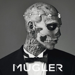 For this campaign, Mugler recruited the help of Rick Genest, better known on the web as Zombie Boy. He adds a ghostly edge to Mugler's somber collection with his completely tattooed body, simply fascinating to look at.