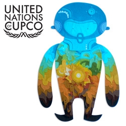 Muju has an awesome felty entry in the United Nations of Cupco exhibition ~ where over 100 artist customized the dolls...