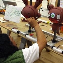 Murakami's sketches and clay models of 'Kaikai' and 'Kiki' balloons for Macy's Thanksgiving Day Parade.
