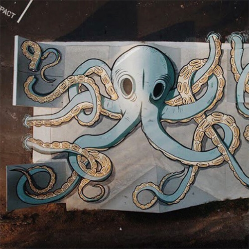 Epic skatepark octopus mural by Brian Wooden at Salem Town Board Co. in Nashville.