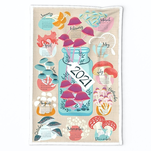 Mushroom Calendar Tea Towel by Julie Lynch (cjldesigns) for Spoonflower. She has other fun nature inspired fabric designs as well.