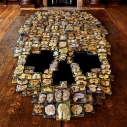 Skull made with slices of real human brains at Philadelphia's Mütter Museum, created by Skull-A-Day artist Noah Scalin.