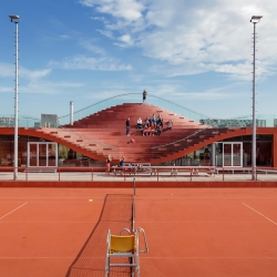 The Couch Clubhouse for Tennisclub IJburg by MVRDV, on a man-made island in the East of Amsterdam.