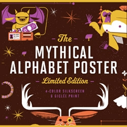 Fifty Five Hi's Mythical Creatures Poster - Dragons, Elfs and Jackalopes! What ever is a Jackalope, anyway!? Find out here and celebrate Halloween with this jam-packed poster of 26 mythical creatures.