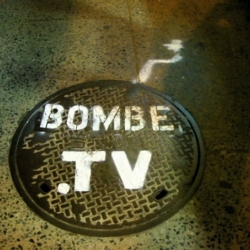 Here is a street art ad I saw on one f montreal main street called Mont-Royal for the web tv site called www.bombe.tv