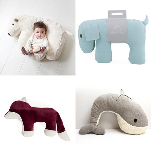 Nanami - Adorable animal nursing/hang out baby pillows in polar bear, whale, dog, and fox designs.