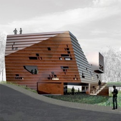 NAO´s villa for ORDOS 100. The skin of the house is designed to keep weather elements on the facade: snow, sand, rain and moss, changing during the four seasons of the year.