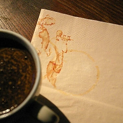 """Coffee art paper napkins For the true coffee lovers. Based on a painting """"CAFE FLORIAN"""" by Juarez Machado. Collector's edition."""