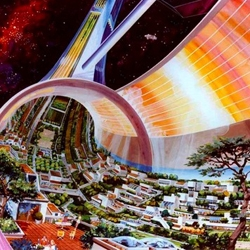 Great NASA Ames concepts from the early 1970s.  Their future societies were tree-abundant and lush.