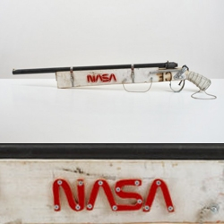 The space-boyscout in Tom Sachs got together with the designer in Tom Sachs and they crafted together their very own super-official NASA shotgun.
