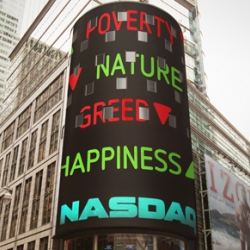 Hacking Nasdaq for a good cause: happiness up, greed down. Made by Dawn, Amsterdam