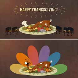 The new collaboration between illustrator Nathan Love and NBC to wish their viewing audience a Happy Thanksgiving begins airing today.