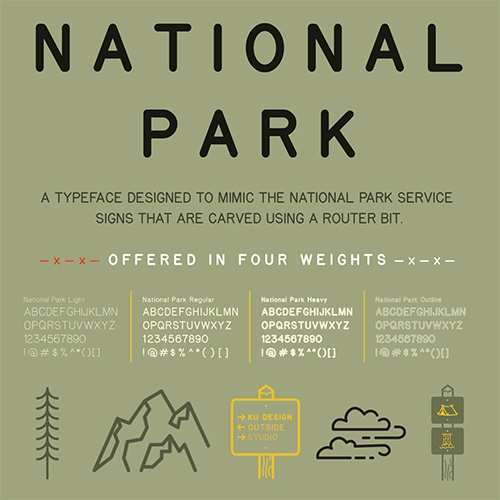 National Park - that iconic National Park Service signage look was actually created by the size of the router bit used to make the signs... and it's been turned into a typeface (in 4 weights) by The Design Outside (DO) Studio!