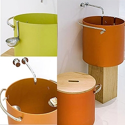 Marco Merendi's aluminum pieces for your bathroom, coated in yellow, orange or blue. The series includes a mirror, soap holder, tumbler, and laundry basket.